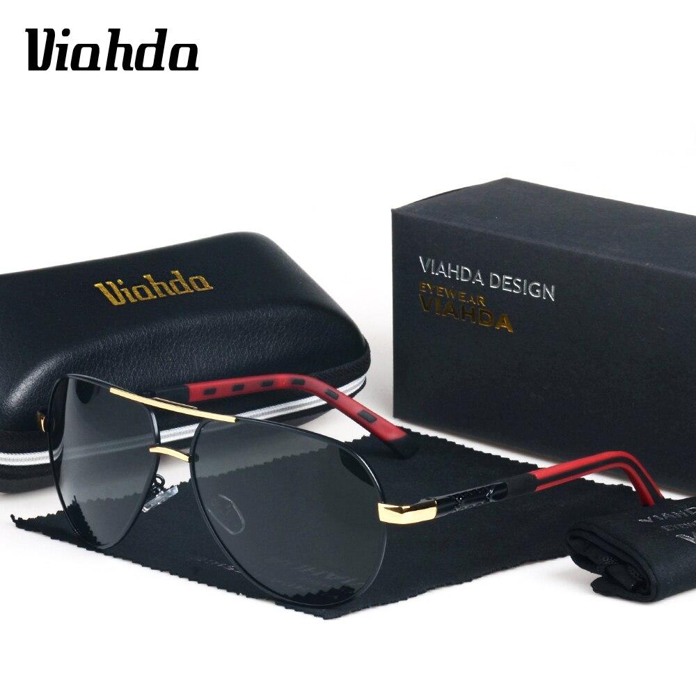 VIAHDA HD Polarized Retro Big Brand Women Designer Sunglasses Driving glasses Mens Sun Glasses