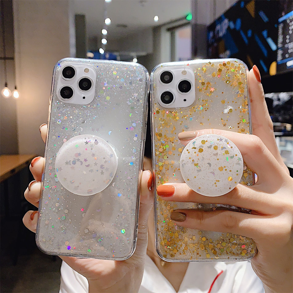 H26fd8943e85a4ed98eacade8f138ebcc8 - Bling Glitter Phone Case For iphone 11 Case 11 pro max 6 6s 7 8 Plus X XR XS Max Star Sequin Cover Funda Stand Holder Coque