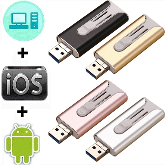 Waterproof Usb Flash Drive Pen Drive 128GB 64GB Flash Disk For Iphone/ipad 3 In 1 Memory Stick 16GB 32GB Pendrive For Android