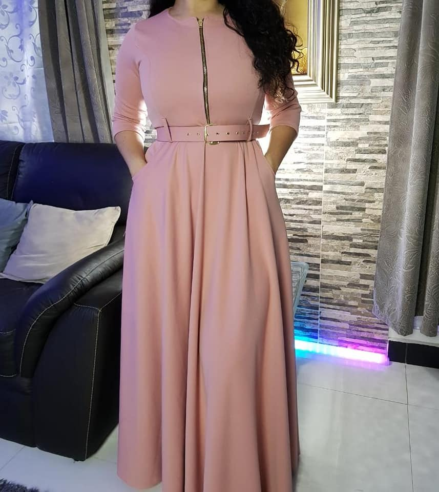 Elegant Women Office Lady Maxi Dress Plain Zipper A Line Dresses Robe 2020 Summer African Fashion Femme Vestiods Vintage