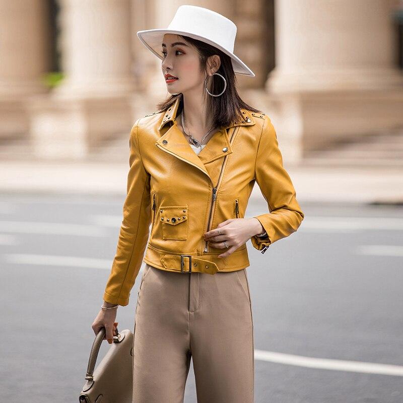 2019 autumn new fashion temperament wild Korean version of the slim short PU   leather   jacket