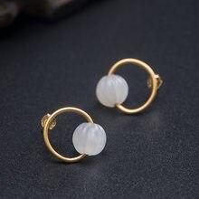 Vla 925 prata esterlina criativo estilo chinês nephrite abóbora brincos 2021 tendência moda simples jóias personalização