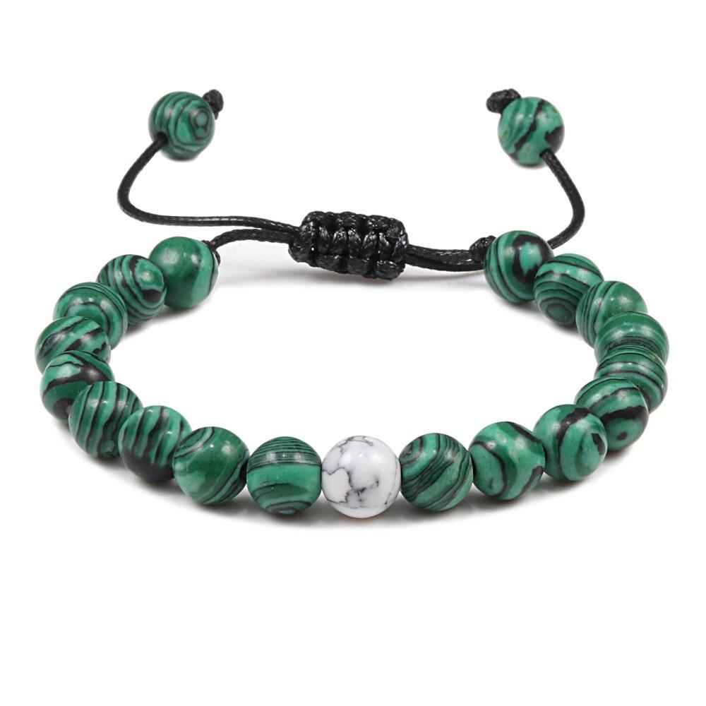 Мужские и женские натуральные зеленые малаховые Каменные Бусы, плетеные браслеты, шарм, браслет для пары, украшения для йоги, подарок для лу...