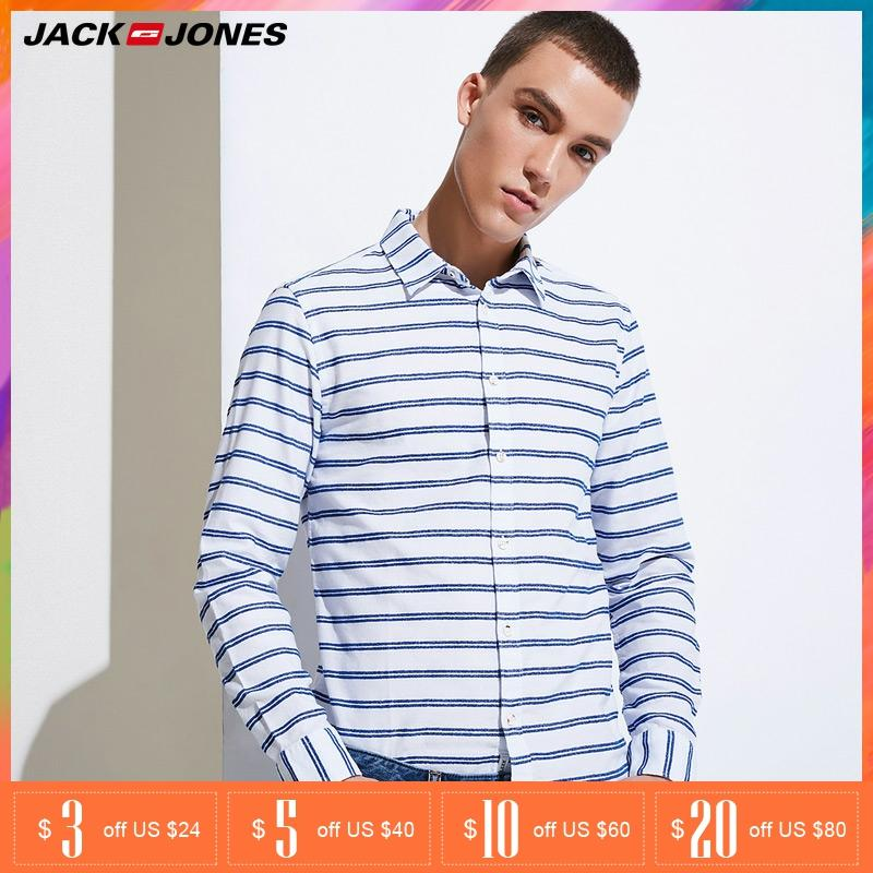 JACK JONES Brand 2019 NEW Regular COTTON Smart Casual Style Full Length Sleeves Turn-down Collar Male Shirts| 217105509