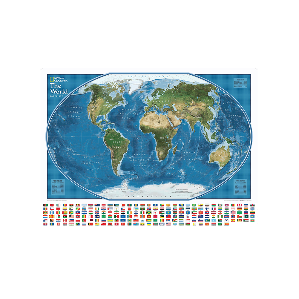 The World Satellite Map With The Largest Water Bodies And Landmasses Rank 150x100cm Non-woven World Map With National Flags