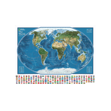 цена на The World satellite Map With The Largest Water Bodies And Landmasses Rank 150x100cm Non-woven World Map With National Flags