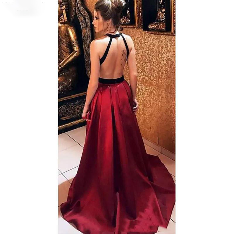 2020 Sexy Backless Halter Evening Dresses Simple Satin Long Prom Dresse Special Occasion Formal Gowns suknie wieczorowe