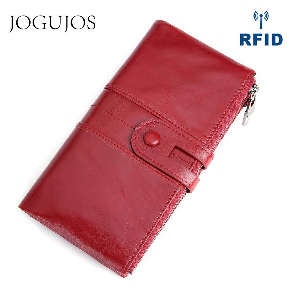 JOGUJOS Cowhide RFID Wallet Ladies Clutch Women Hasp Zipper Wallet Genuine Leather Female Purse Long Women Wallets Purse Coin
