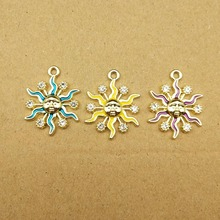 10pcs 19x24mm enamel sun charms for jewelry making and crafting cute earring pendant necklace bracelet charms