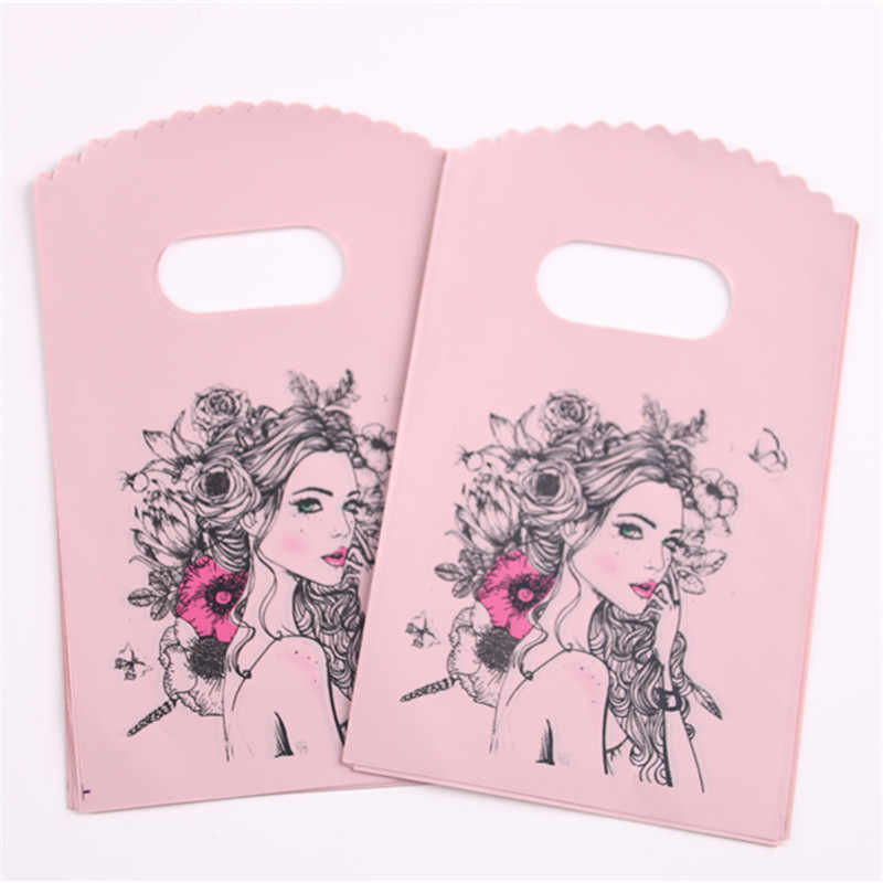New Style Wholesale 50pcs/lot 9*15cm Fashion Mini Plastic Gift Packaging Bags Favor Luxury Wedding Decoration Pouches