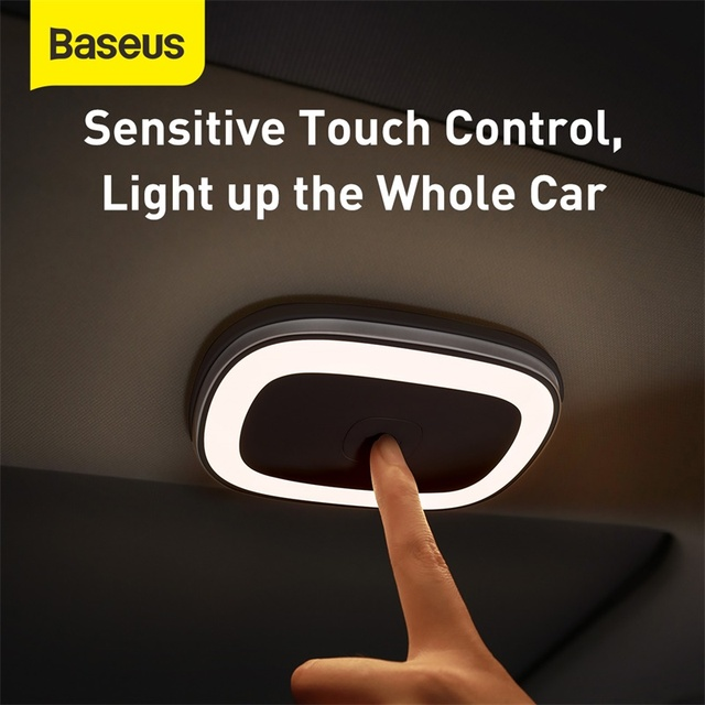 Baseus Car Touch LED Night Light Car Roof Light Ceiling Magnet Lamp Automobile Interior Reading Light Rechargeable USB Charging