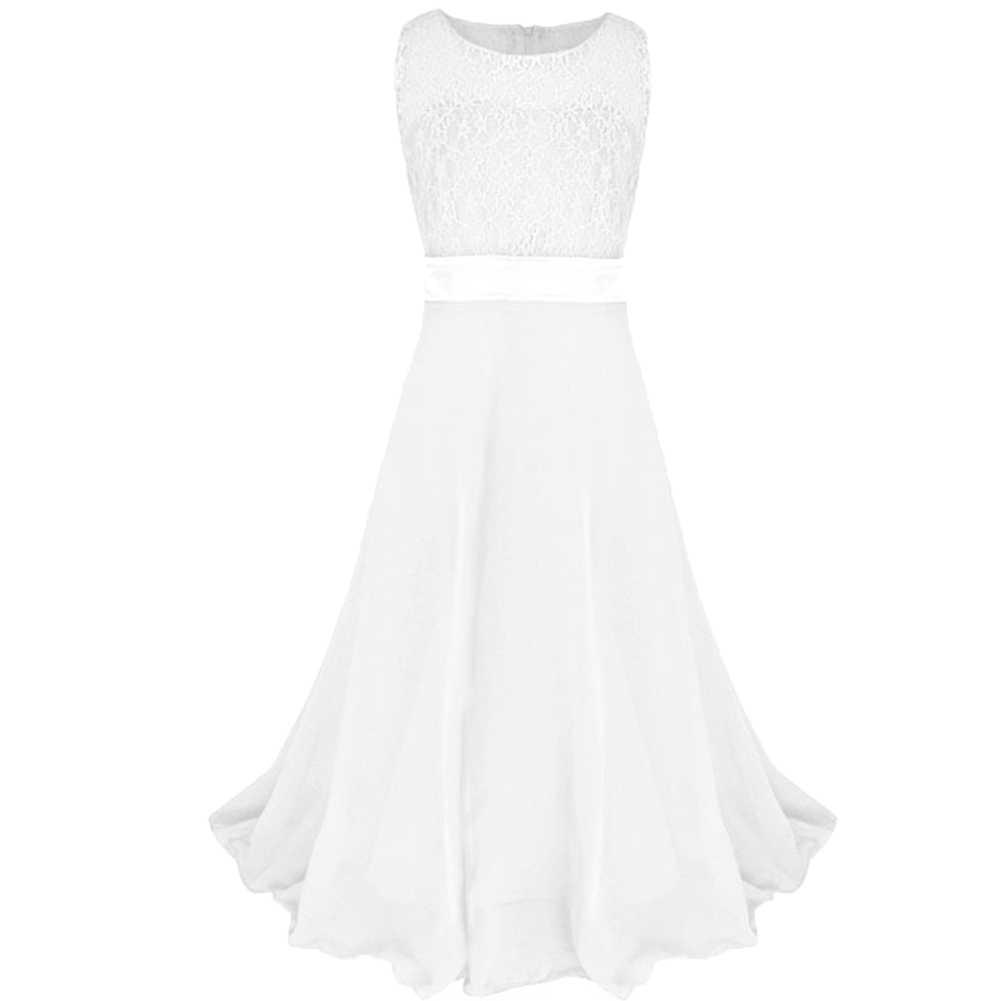 אופנה כדור שמלת נשף חתונה ילדה תחרה Bowknot אבנט שרוולים Midi שמלת נסיכת שמלה