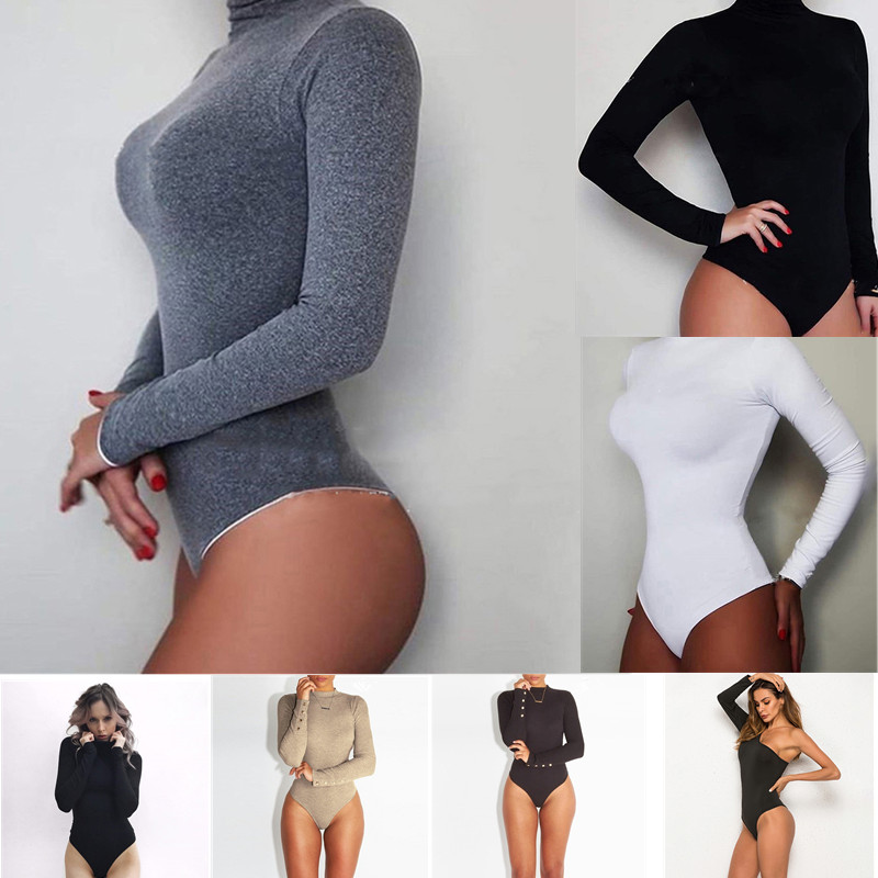 GAOKE Sexy Solid Dolcevita Body Femme Top manica lunga Autunno Inverno Elegante aderente aderente Nero Bianco Body da donna