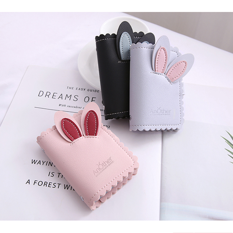 2019 Hot Sale Cute Rabbit Ears Women Men 24 Bits Business Card Case Credit ID Passport Cover Card Holder Driver License Wallet