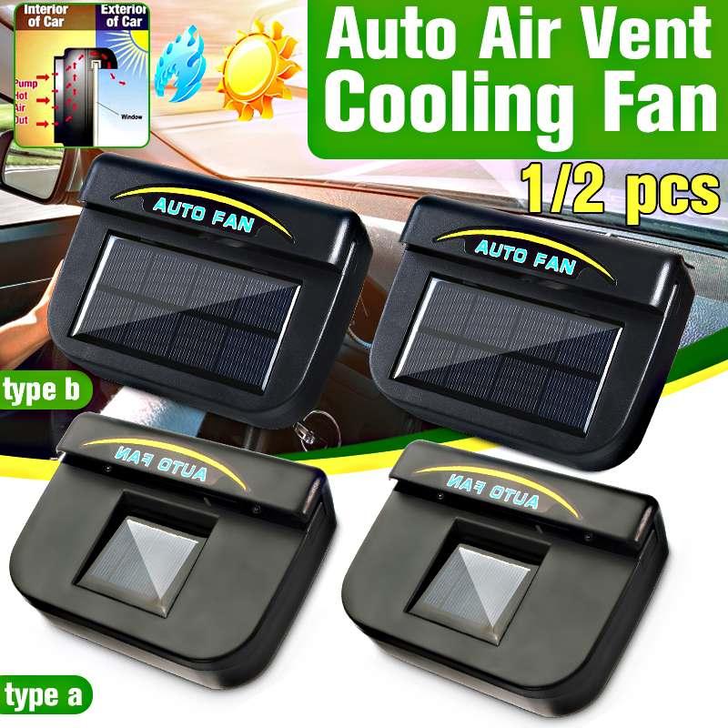 1/2pcs Solar Sun Power Car Window Air Vent Cooling Fan Side Window Ventilation Fan Cooler System Radiator Universal