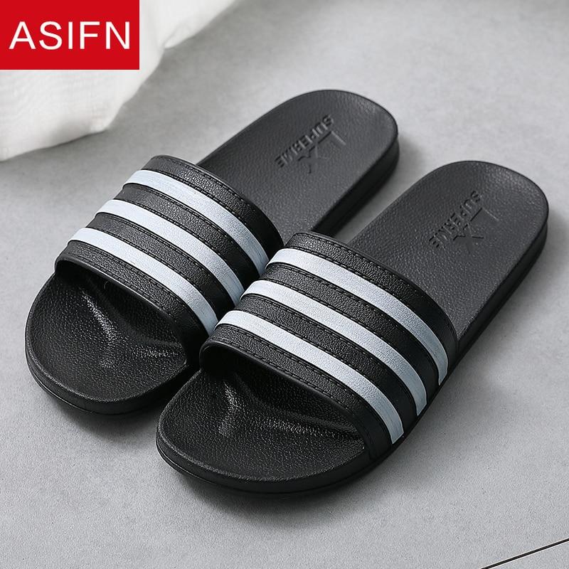 ASIFN Summer Slippers Simple Men Slides Bathroom Non-slip Soft Bottom PVC Sandals Male Flip Flops Shoes Woman Zapatos De Hombre