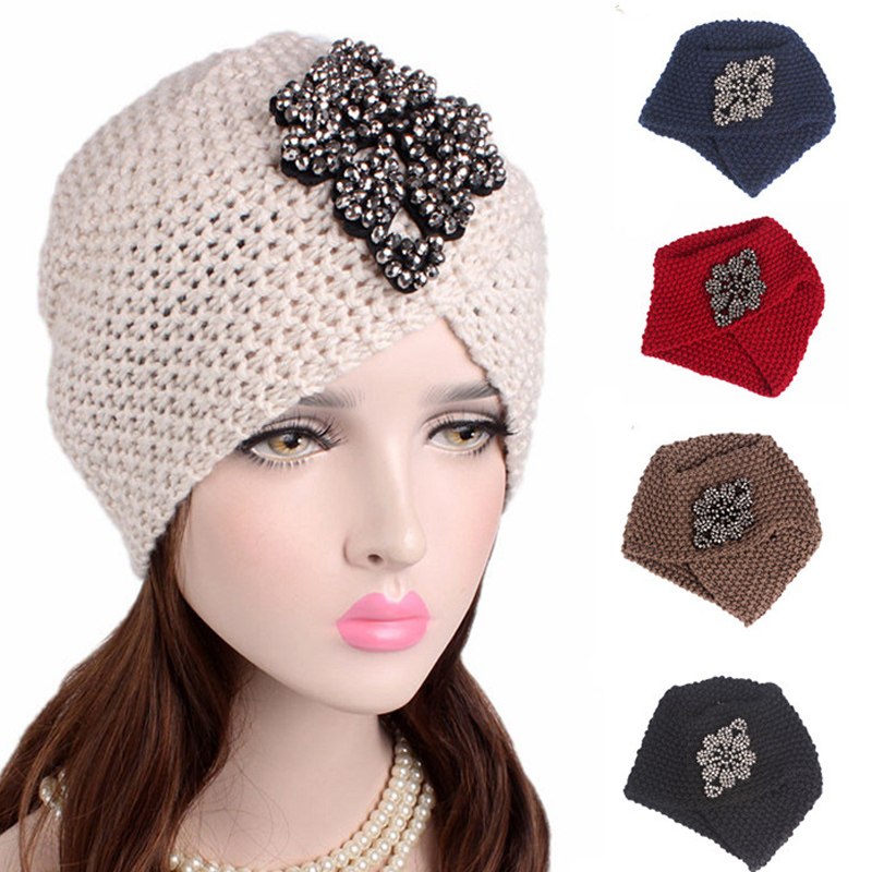 Women Cross Winter Warm Wool Knit Turban Hat With Rhinestone Soft Beanie Sleep Chemo Headwear Cancer Patients Hair Accessories