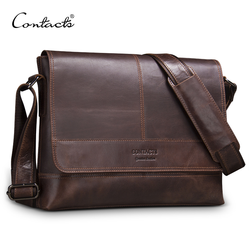 Men Briefcase Contacts Messenger-Bag Business Genuine-Leather Casual Male