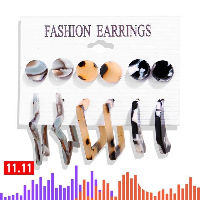 17KM Vintage Tassel Acrylic Earrings For Women Bohemian Earrings Set Big Dangle Drop Earring 2020 Brincos Female Fashion Jewelry 3