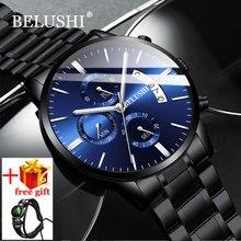 Belushiファッションメンズ腕時計アナログクォーツ腕時計30メートル防水日付鋼時計男性腕時計ミリタリー