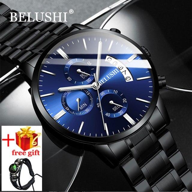 Belushi moda masculina relógios de quartzo analógico 30m à prova dwaterproof água cronógrafo esporte data aço relógio masculino relógios militares
