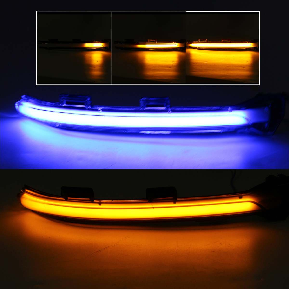 2X Blue&Amber LED Dynamic Turn Signal Light Side Rearview Mirror Indicator for <font><b>VW</b></font> <font><b>GOLF</b></font> <font><b>7</b></font> <font><b>GTI</b></font> R GTE SPORTSVAN 14-17 TOURAN 16-18 image
