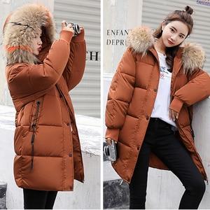 Image 2 - חורף סלעית חם למטה מעיל נשים מקרית ארוך למטה מעילי גבירותיי לעבות כותנה Parka בתוספת גודל הלבשה עליונה קוריאני Harajuku מעיל