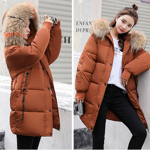 Image 2 - Winter Hooded Warm Down Coat Women Casual Long Down Jackets Ladies Thicken Cotton Parka Plus Size Outerwear Korean Harajuku Coat