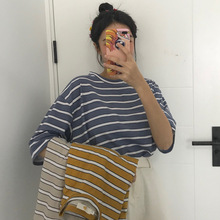 2019 Summer New Style Loose And Plus-sized Stripes Short Sleeve T-shirt Women's Korean-style BF Harajuku-Style Base Tops