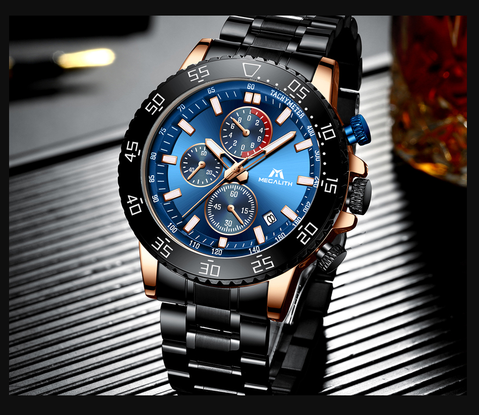 H26ff7a0c786541458aa2c9caca70c3c4Z MEGALITH Military Watches Men Stainless Steel Band Waterproof Quartz Wristwatch Chronograph Clock Male Fashion Sports Watch 8087