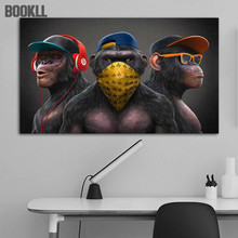Animal Painting Funny Headphone Gorilla Canvas Oil Paintings Wall Art Posters And Print Canvas Prints For Living Room Decoration