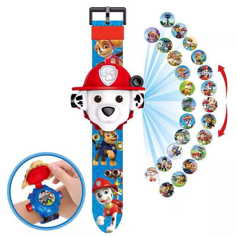 One Piece Paw Pratrol Action Figure Birthday Toys  Watch Patrulha Canina Projection Watch Set