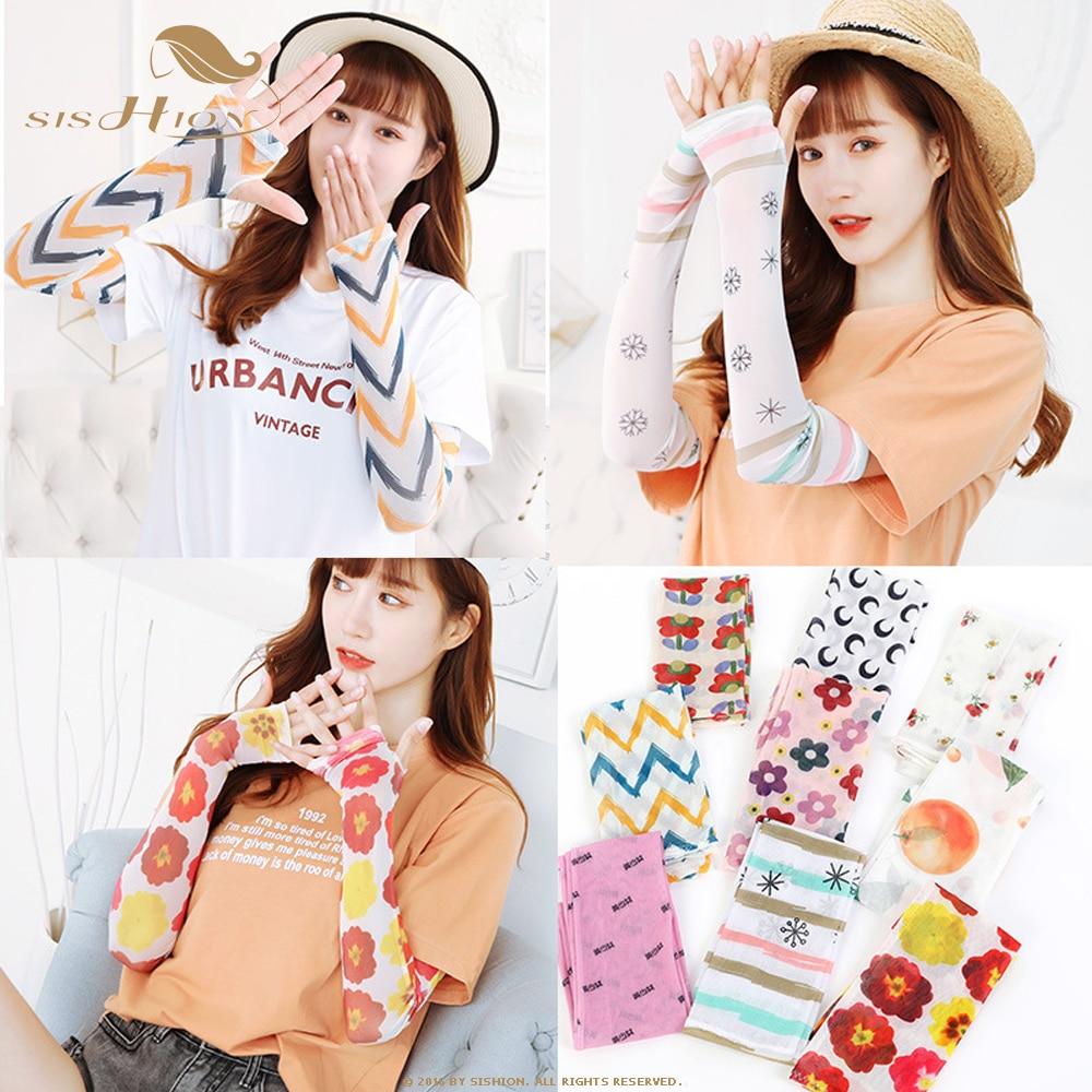 SISHION Fashion Floral Print Arm Sleeves Female Long Sleeve Ice Silk Sunscreen Sleeves Outdoor Half Finger Sleeves SP1054
