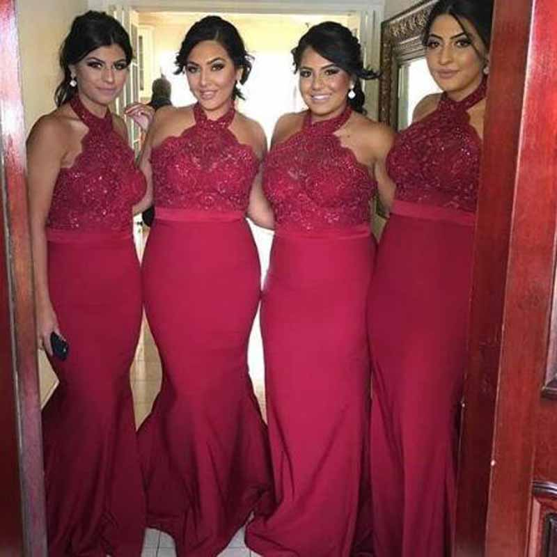 Burgundy Appliqued Lace Beading Sleeveless Mermiad   Bridesmaid     Dresses   Simple Halter Neck Floor Length Custome Wedding Party Gown