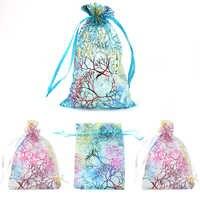QIAO 100 unids/lote 7x9 9x12 10x15 cm bolsas de Organza con cordón para boda regalo de decoración de Navidad bolsas y bolsas de embalaje de joyería