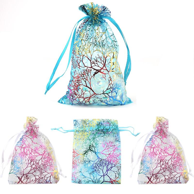 QIAO 100pcs/lot 7x9 9x12 10x15cm Drawstring Organza Bags Wedding Christmas Decoration Gift Bag Jewelry Packaging Bags & Pouches