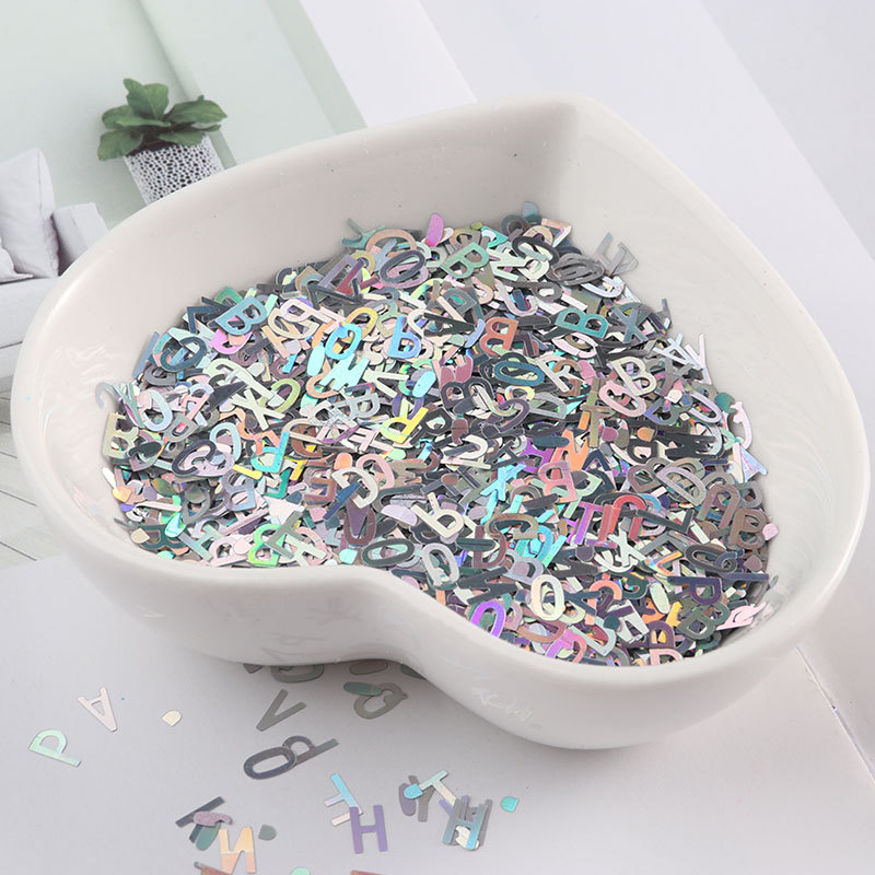 1 Bag Nail Art Holo Sequins Glitter Mixed Size Letter Design Shape Flake Tips Manicure Gold Silver 3d Nail Accessories Paillette