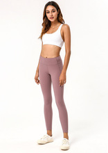 women good quality yoga workout fitness gym running leggings nude skinny with phone pocket