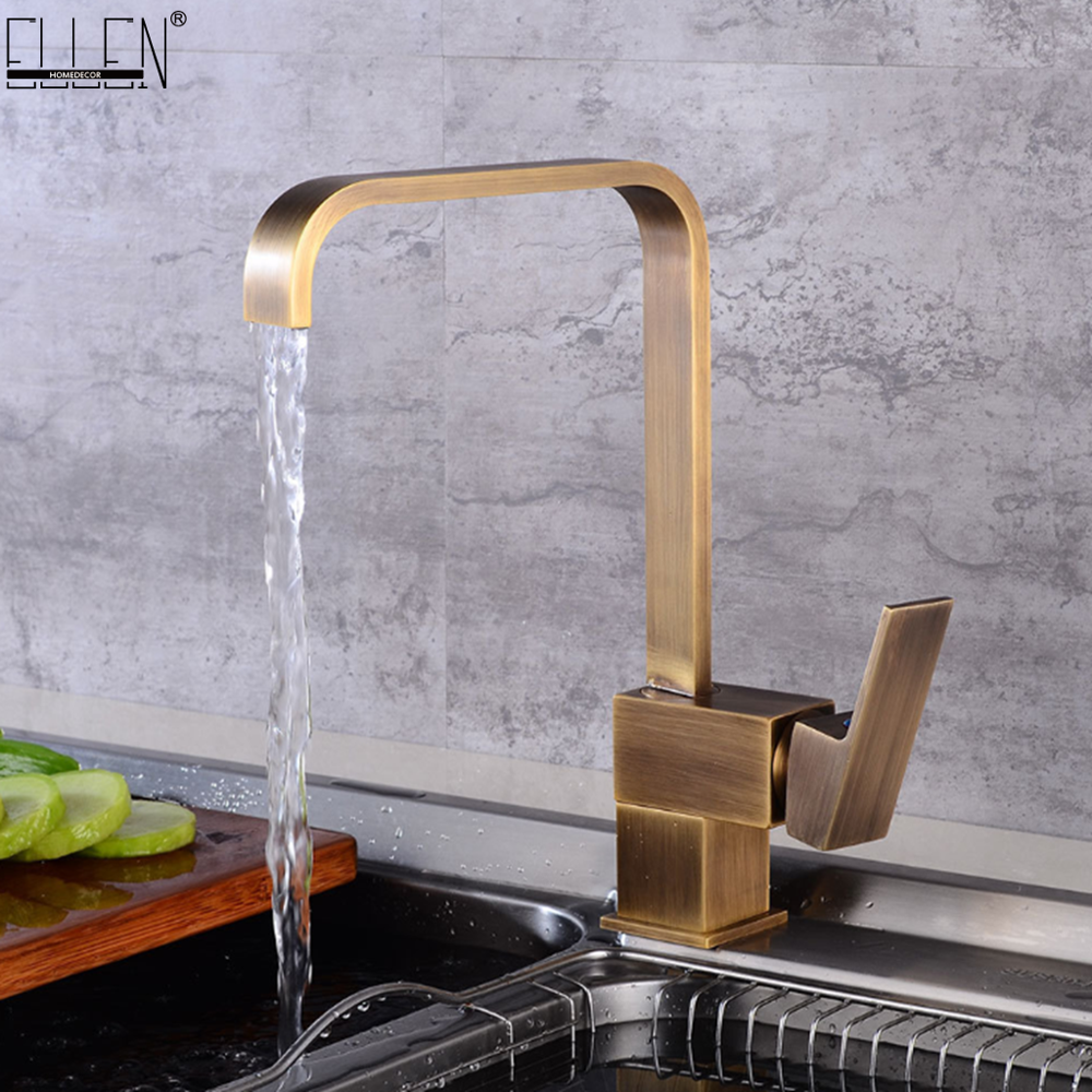 Kitchen Faucets Brass Kitchen Sink Water Faucet 360 Rotate Swivel Faucet Antique Bronze Mixer Single Holder Single Hole ELF2101