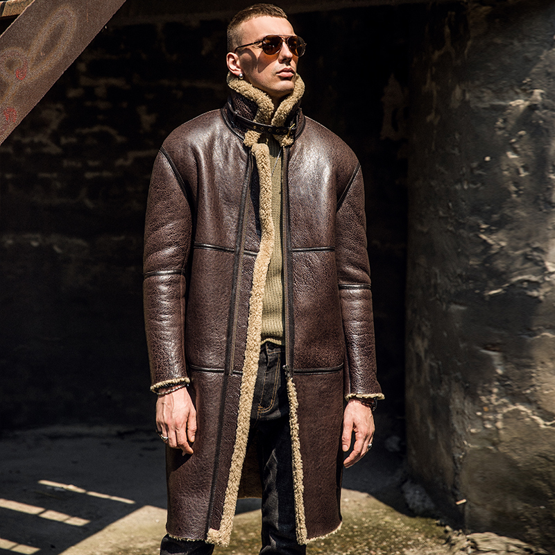 New Long-style Original Ecological Fur-in-one Leather Jacket For Winter 2019 Men's Genuine Leather Windbreaker Jacket Thickened