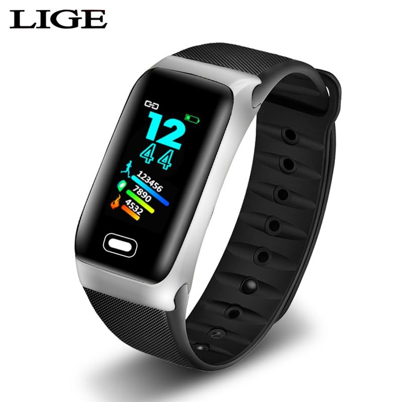 LIGE 2019 Nova pulseira das mulheres Dos Homens À Prova D' Água Inteligente Heart rate monitor de Sono modo Inteligente pulseira Pedômetro rastreador De Fitness Esporte