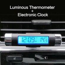 1 pièces Portable 2 en 1 voiture horloge numérique et affichage de la température électronique horloge thermomètre voiture automobile bleu avec Clip