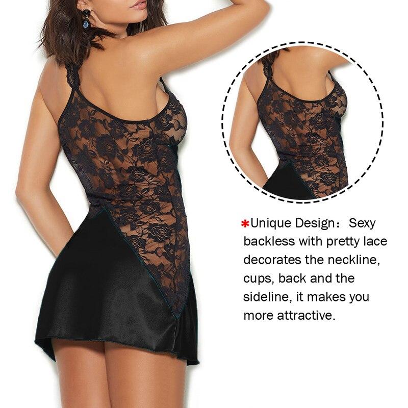 Cute Sweet Home Clothes Sexy Loose Sleepwear Lingerie Lace Nightgown Pyjamas Negligee Babydoll Nightwear Bathrobe Nightdress 5