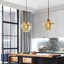 Nordic Modern Glass Pendant lights Fixtures Loft LED Hanging  Pendant Lamp for Kitchen Restaurant Living Room Bedroom E27
