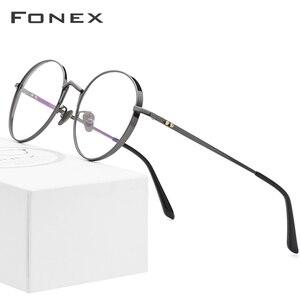 Image 2 - Fonex純チタン処方眼鏡男子超軽量レトロラウンド近視光眼鏡フレームの女性ヴィンテージ眼鏡884