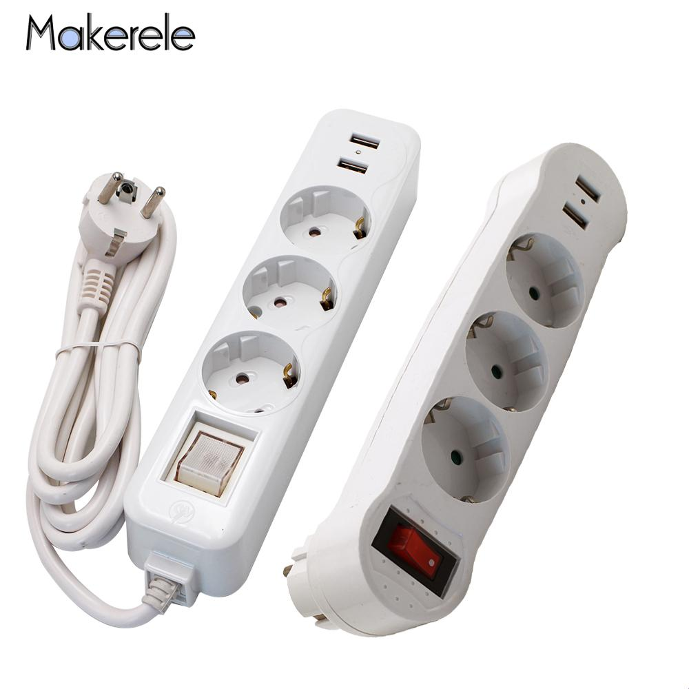 16A European Type Conversion Plug 1 TO 3 Way Power Strip Socket Plug Sockets Dual USB Ports EU Plug