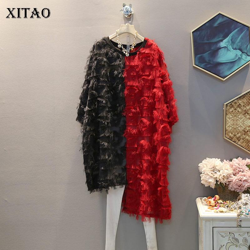XITAO Irregular Women Fashion Dress Fashion New 2020 Spring Elegant Pullover Goddess Fan Casual Loose Tassel Dress ZLL4667