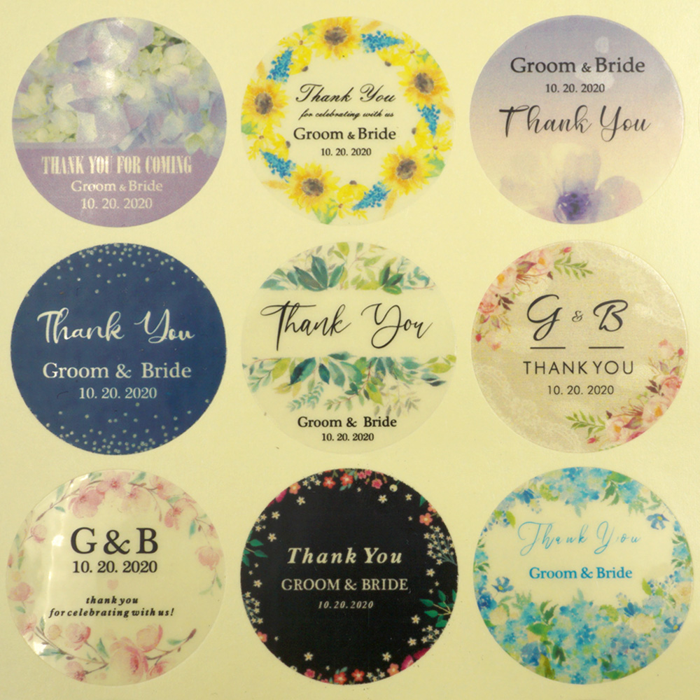 96Pcs 3cm Transparent Wedding Sticker Round Personalized Name Words Label Custom Candy Favors Tag For Gift Box Invitation Seals