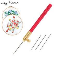 Crochet de Tambour avec 3 aiguilles, ensemble d'outils de broderie de perles, outils de couture, Crochet français, bricolage artisanat, accessoires de couture