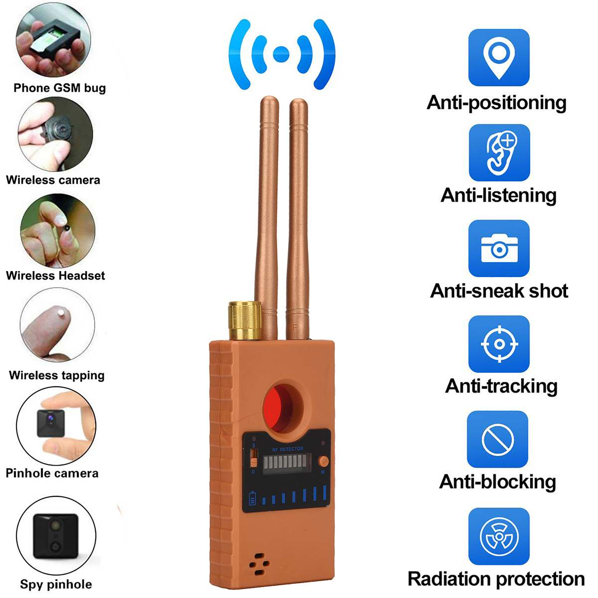 G529 Dual Antenna 8000MHz Anti-tapping Anti-Spy Bug Detector Wireless RF GPS Location Dual Signal Device Finder Privacy-Protect